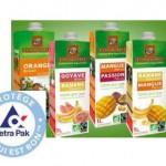 L'emballage écologique de Tetra Pak au profit de 4 jus de fruits bio