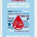 Journée mondiale des donneurs de sang le 14 juin 2013
