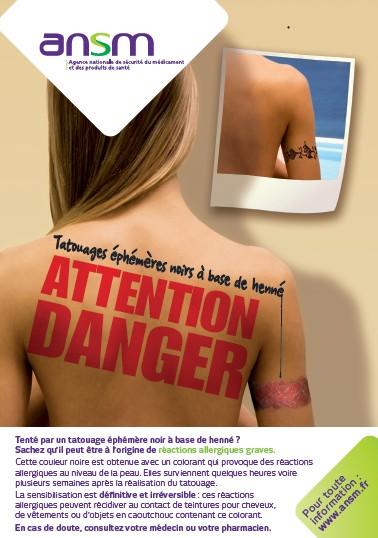 """Tatouages éphémères noirs à base de henné : """"attention danger !"""", prévient l'ANSM"""