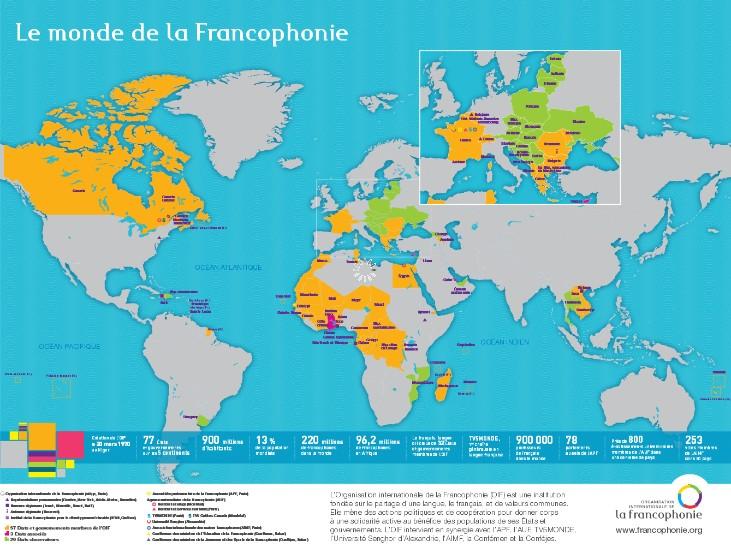 carte du monde des pays francophones
