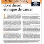 Particules fines et risque de cancer : l'INCa publie une fiche repère
