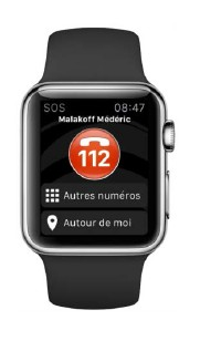 L'application SOS Urgences disponible sur la montre Apple Watch