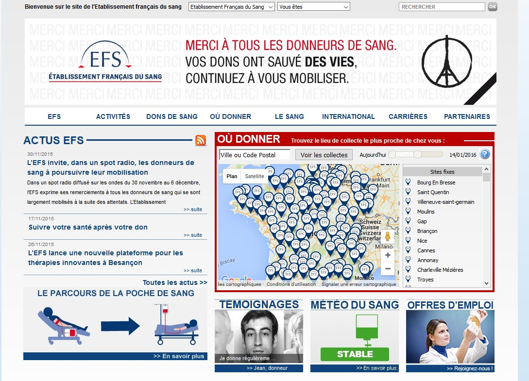 Le site de l'EFS