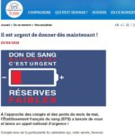 Don du sang : un appel national d'urgence