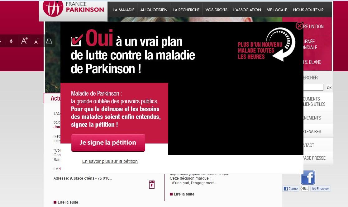 Pour signer la pétition : www.franceparkinson.fr