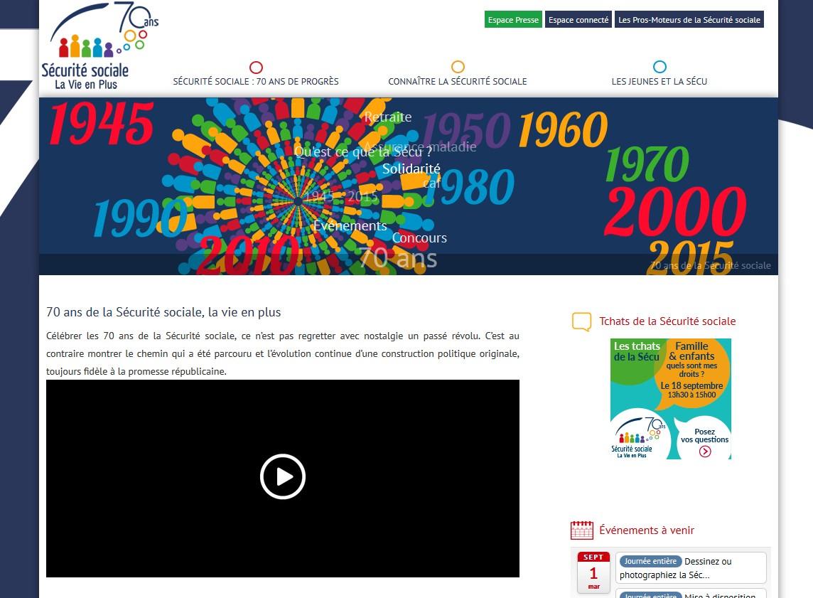 Le site internet www.70ansSecuriteSociale.fr