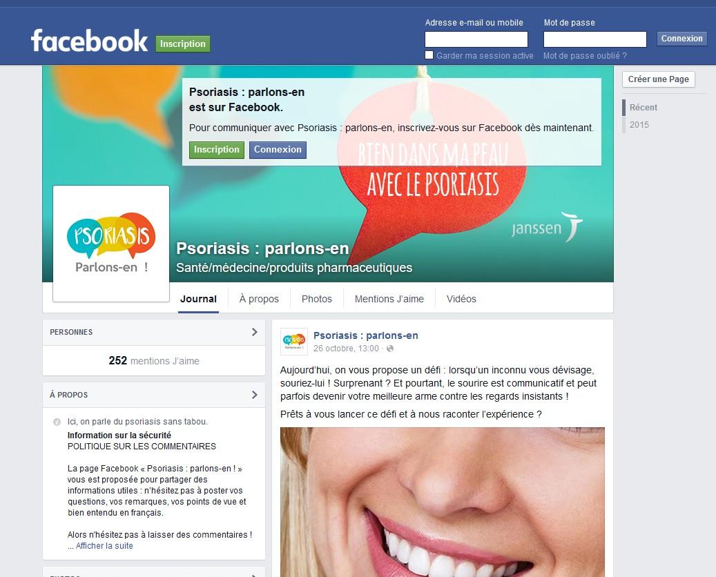 La page Facebook « le psoriasis, parlons-en ! »