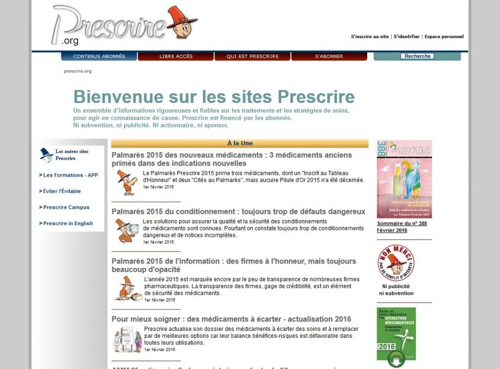Le site de la revue Prescrire