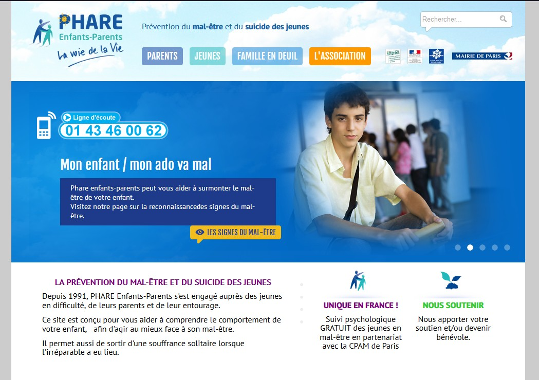 Le site de l'association PHARE Enfants-Parents