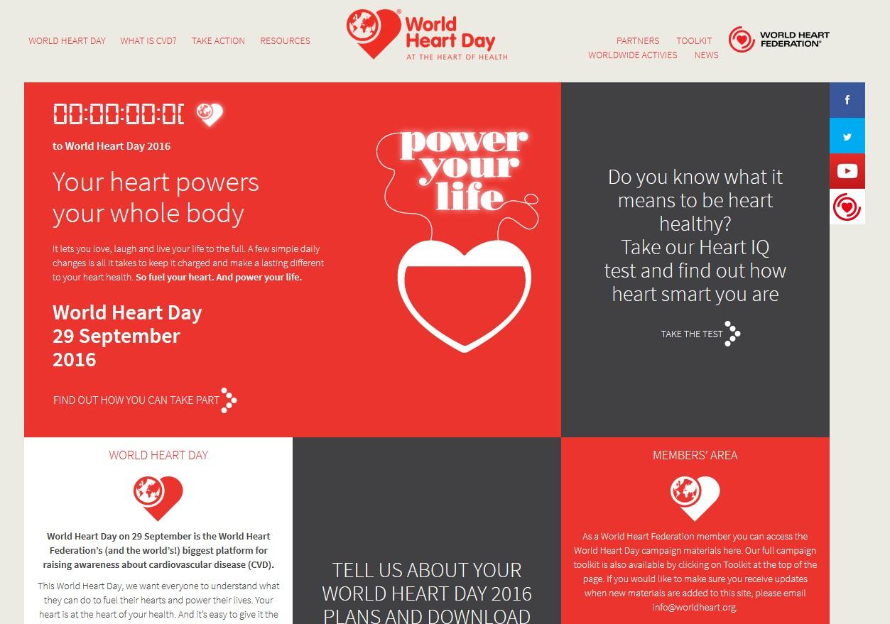 Journée mondiale du cœur, le 29 septembre 2016