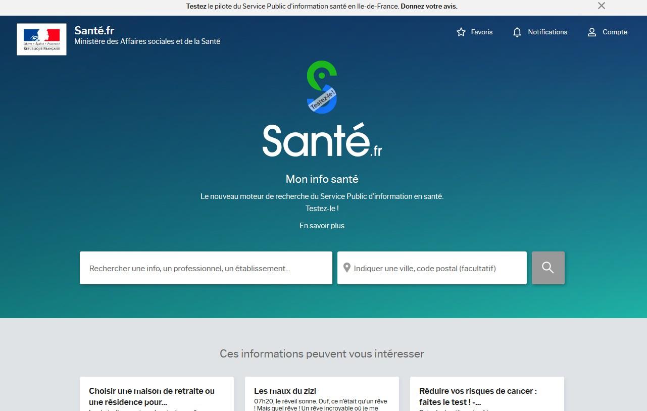 le site Internet sante.fr