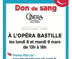 Venez donner votre sang dans un lieu exceptionnel : l'Opéra Bastille !